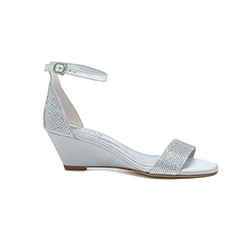 8907-5 Silver Wedge Sandals