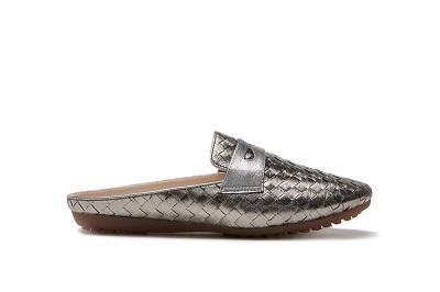 801-16 Pewter Metallic Weave Mules
