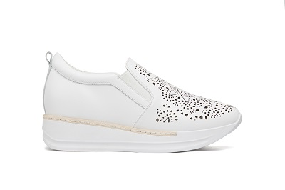 8193-16 White Floral Laser Cut Out Sneakers