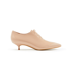 1802B-801 Nude Glossy Lace Up Booties
