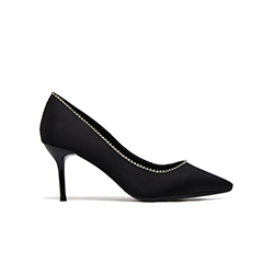 5590-B9 Black Silver Trim Heels