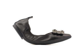 5250-3 Black Crystal Buckle Foldable Flats