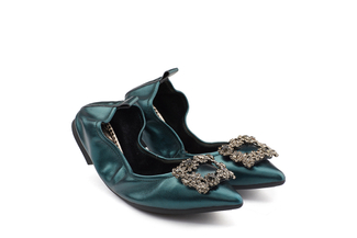 5250-3 Dark Green Crystal Buckle Foldable Flats
