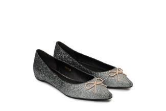 1639-7 Black Glitter Bow Flats
