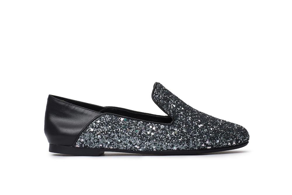 4c7d14b992f1 1620-02 Black Glitter Loafers
