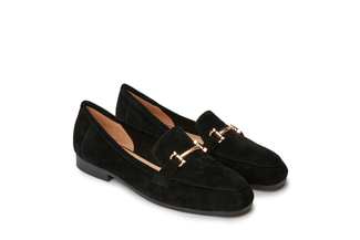 7399-6A Black Metal Trim Suede Loafers