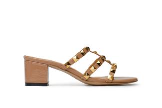9628-8A Nude Studded Slide Sandals