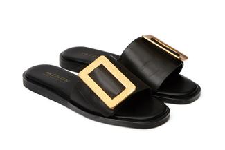 A81-2017 Black Buckle Sandals