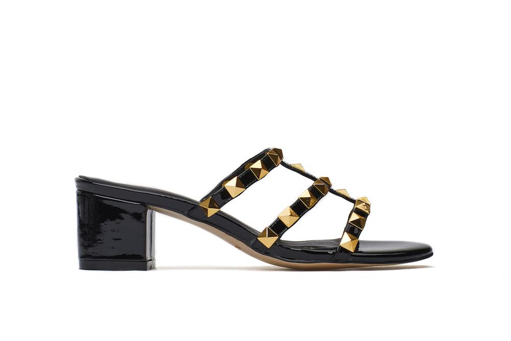 0baf5ce10866 9628-8A Black Studded Slide Sandals