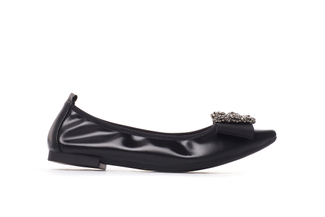 3230-2 Black Jeweled Metallic Flats