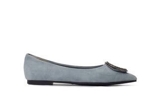 308-1 Grey Crystal Buckle Suede Flats