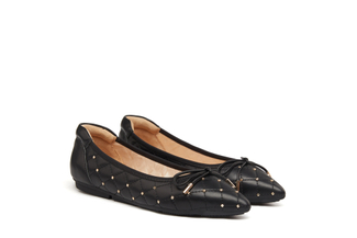 208-10A Black Quilted Ballerina Flats