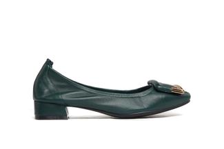 823-1A Dark Green Buckle Round Toe Heels