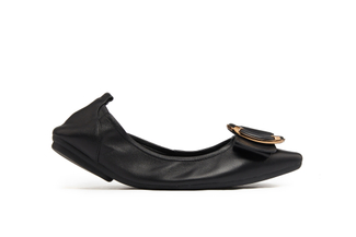 838-1 Black Round Buckle Foldable Flats