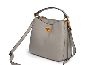 90053 Grey Slouchy Leather Tote