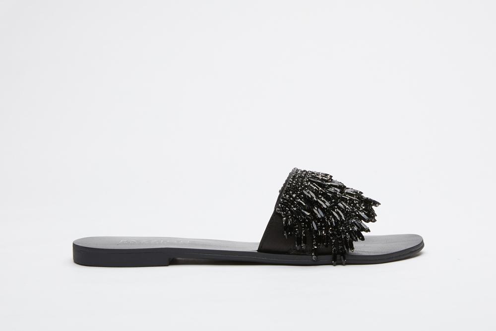 c022e6b93108 2639-5 Black Glistening Slip On Sandals