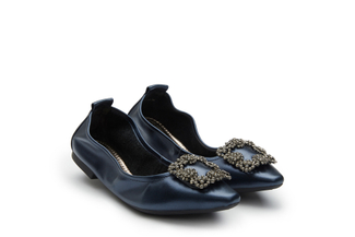3230-3A Dark Blue Crystal Buckle Foldable Flats
