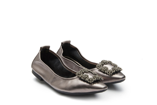 3230-3A Pewter Crystal Buckle Foldable Flats