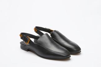 6936-15 Black Slingback Mules