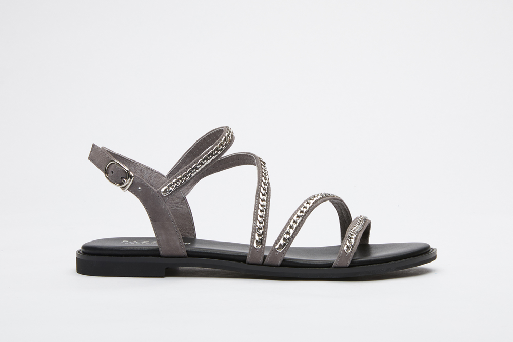f2e7419594403 3628-6 Light Grey Caged Chain Sandals
