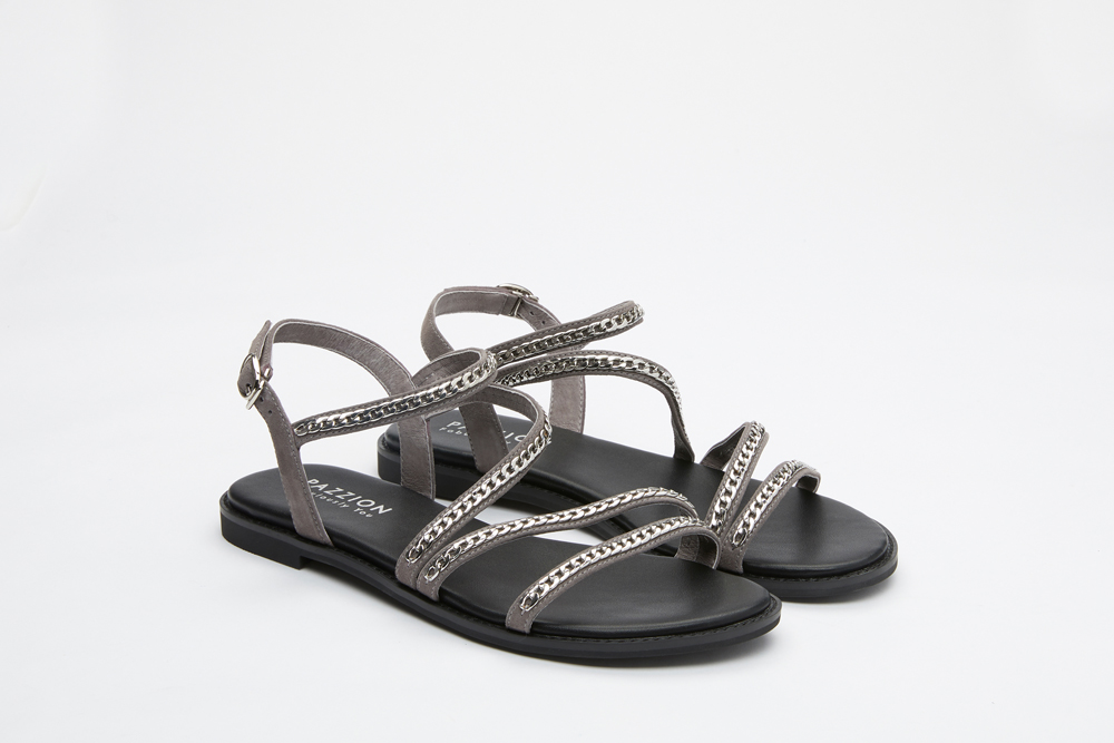 00e228775b868 3628-6 Light Grey Caged Chain Sandals