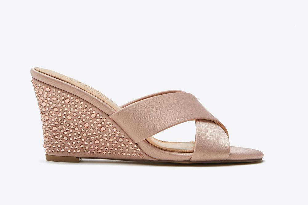 5a69320d812d 3041-1 Pink Criss Cross Wedge Sandals