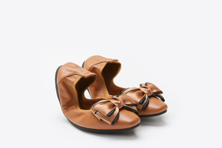 1318-300 Brown Bold Bow Foldable Ballerina Flats