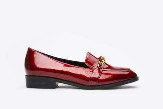 179-68A Wine Metal Buckle Sleek Classic Loafers