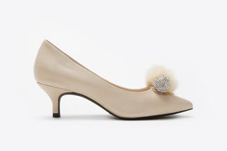 286-19 Beige Pom Pom Classic Heels