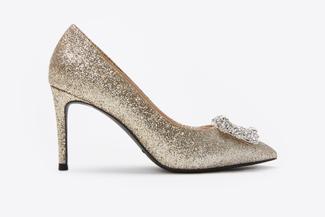 6162-16A Gold Sparkly Embellished Front Heels