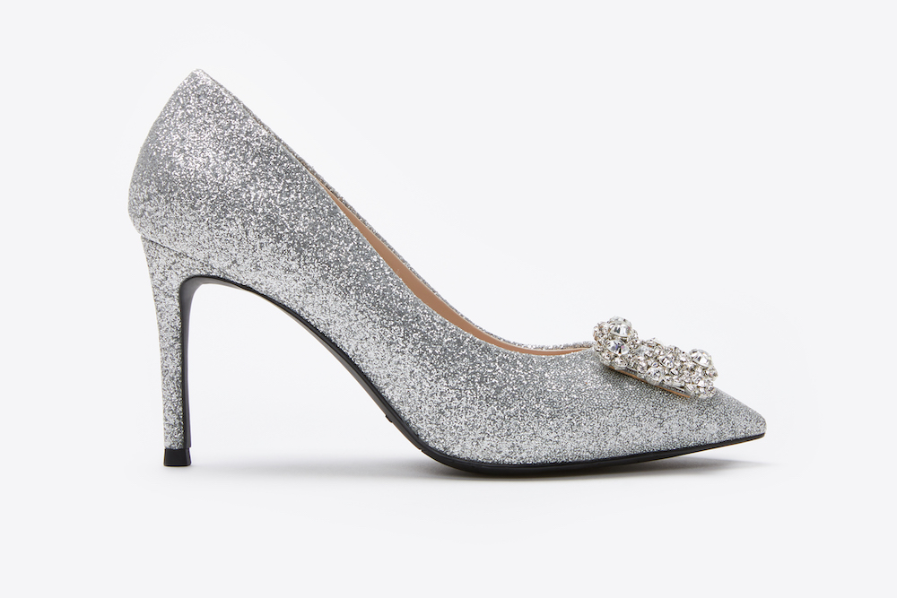 40f5bc4e42f2 6162-16A Silver Sparkly Embellished Front Heels