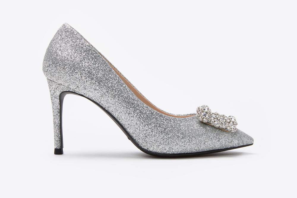eaaf39f6a1d169 6162-16A Silver Sparkly Embellished Front Heels