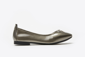 1603-6 Pewter Crystal Bow Patent Leather Flats