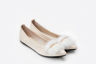 3680-1 Beige Mink Fur Flats