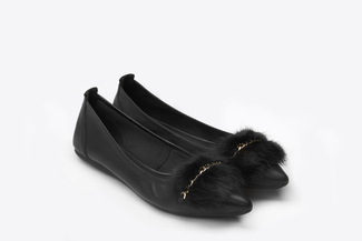3680-1 Black Mink Fur Flats