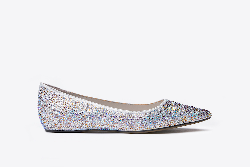 4f8ed3171105 5041-1 Silver Glittery Pointed Flats