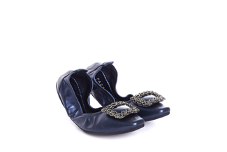 1318-6 Dark Blue Foldable Crystal Flats