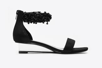 888-1A Black Embellished Ankle Strap Sandals