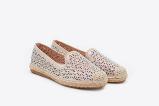 164-12 Champagne Metallic Perforated Espadrille Loafers