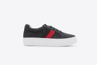 318-11 Black Glittery Athleisure Flatform Sneakers