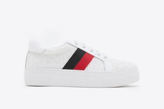 318-11 White Glittery Athleisure Flatform Sneakers