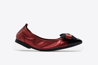 3869-2 Deep Red Vintage Foldable Ballet Flats