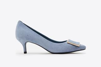 6091-29 Blue Buckle Front Suede Heels