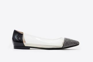 8260-13 Black Vinyl Pointy Toe Flats