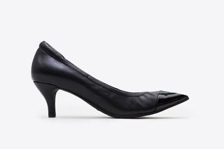 9878-38 Black Pointy Front Ballet Pump Heels