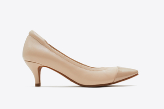 9878-38 Light Almond Pointy Front Ballet Pump Heels