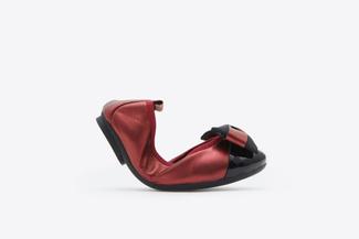 BB3869-2 Kids Deep Red Vintage Foldable Ballet Flats