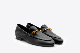6936-38 Black Metal Buckle Loafers