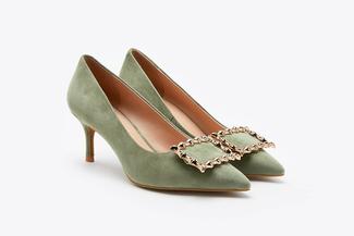 1806-213 Green Vintage Buckle Heels