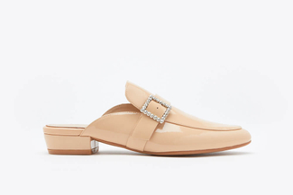 189-1A Almond Crystal Buckle Mules